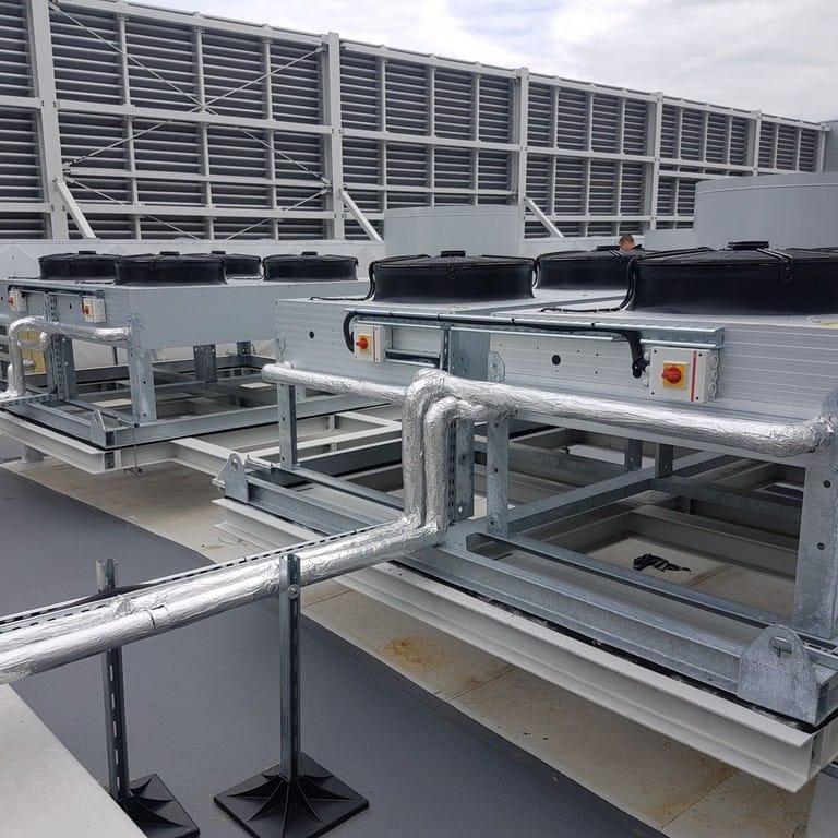 Podłączenie szaf klimatyzacji precyzyjnej GEA. Zakład produkcji folii, w sumie 6 szaf.